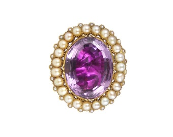 RESERVED - Georgian Amethyst Brooch, In 15ct Gold