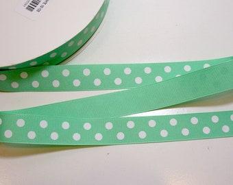 Polka Dot Ribbon, Mint Green and White Polka Dot Grosgrain Ribbon 7/8 inch wide x 10 yards, Offray Ribbon