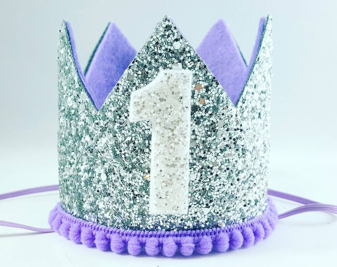 Birthday Crown || Lilac and Silver Birthday || purple || Silver Crown || Birthday Girl || First Birthday || Baby Crown ||  Birthday Hat