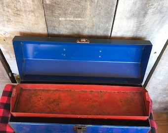 Vintage Blue Tool Box with Red Tray , Metal , Rectangle , Bright Blue , Wildcat , Craft Storage , Tackle , Rustic , Garage , Men , Planter