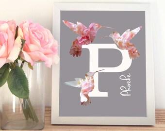 Initial Print, Hummingbird Print, Monogram, Art Print, Nursery Print, Floral Print, Baby Girl, Baby Gift, Art Print for Kids, Pink