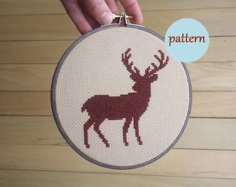 Deer Cross Stitch Pattern, Instant Download PDF, DIY Embroidery Hoop Wall Art