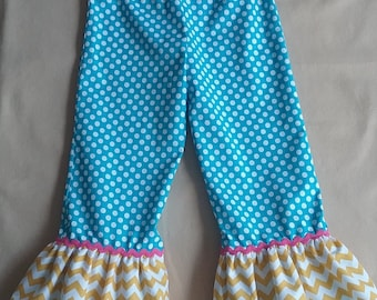 Custom Double Ruffle Pants for Girls 0 - 8 Years Choose your Colors and Fabrics
