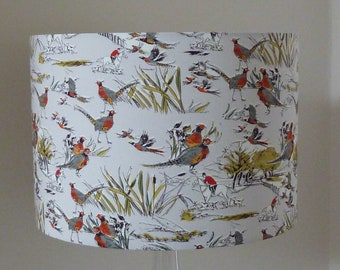 SALE!  SALE!  Pheasants and Huntsman small Drum Lampshade for table lamp 20cm x 16cm