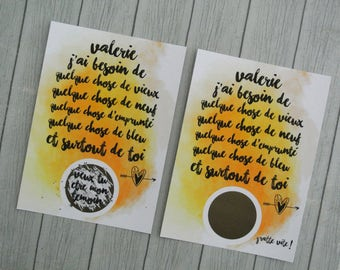 Scratch card application of watercolor + text to customize name