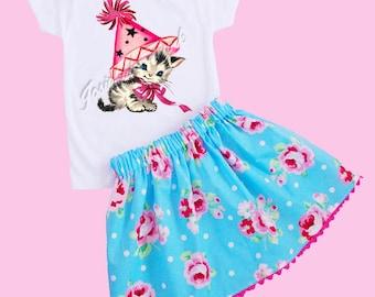 "Pink Birthday Kitty Girl Skirt Set ""Party Kitty Pink"" Retro Custom Size 6/12m to 3T"