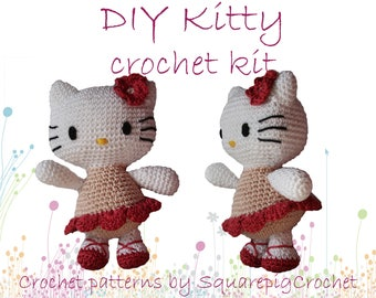 """DIY Kitty Crochet kit to crochet your own kitty about 10"""" tall!"""