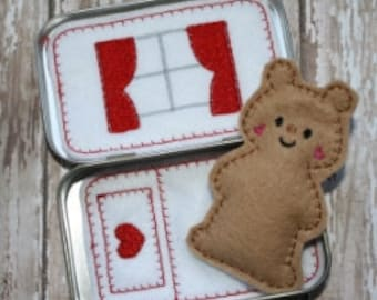 Digital Download  Pocket Teddy Tin Embroidery Machine Design for the 4x4 hoop