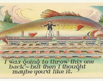 "Vintage 1940s Linen Postcard: Fishing Comic- ""I was going to throw this one back- but then I thought maybe you'd like it."" Free Shipping"