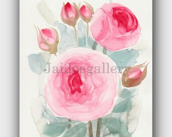 Watercolor art 6x8 in,Painting on paper, Original watercolor painting.Flower art, Floral rose painting,