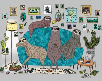 Lazy sloths A3 print - sloth room colour illustration