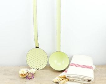 Enameled ladle - colander - cooking utensils - enameled sheet metal - French antique utensils - countryside