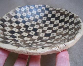 Ceramic Art Dish - Inca Geometric Design - Art Bowl - Ceramic Dish