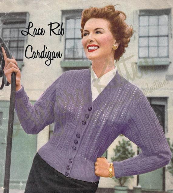 Vintage Knitting Pattern For Women Lace Rib Cardigan