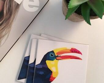 Ceramic Tile Coasters - Toucan 4 pack