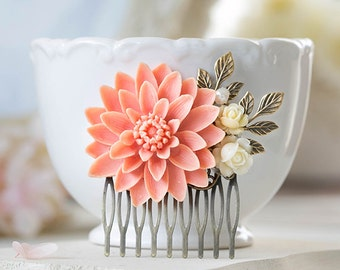 Large Peach Pink Chrysanthemum Ivory Flower Antique Gold Leaf Hair Comb Peach Wedding Hair Comb Bridal Hair Comb Woodland Hair Accessory