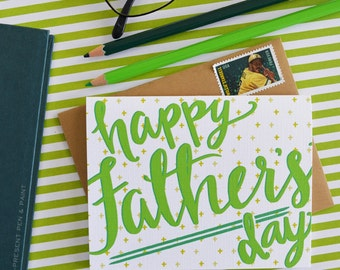 Happy Father's Day, Father's Day Card, Dad, Daddy, Greeting Card, Stationery, Hand lettered, Hand Drawn, Illustration