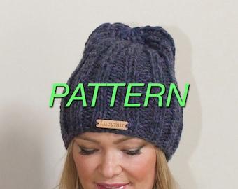 Slouchy Beanie Slouchy Hat PDF PATTERN DIY Hand Knit Winter Hat Ribbed Hat Women Chunky Beanie Women