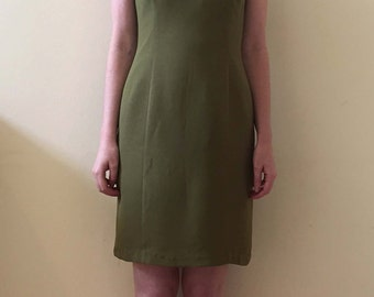 90s Olive Green Martini Dress