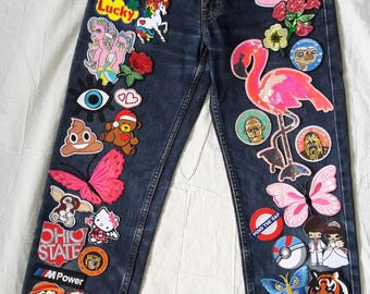 Patched Denim / Patched Jeans / Hand Reworked Vintage Jeans With Patches / Vintage Jeans with Patches Women 24 Waist