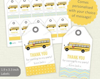 Yellow Wheels on the Bus Printable Labels / Favour Tags - personalised thank you for coming to my party tag, American school bus - LT030