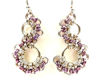 Sterling Silver and Purple Chainmaille Dangle Earrings, Romantic Boho Lavender Jewelry