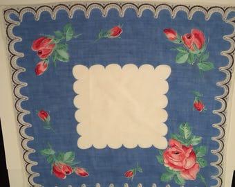 Vintage Handkerchief  / Roses, Black Lacy Border
