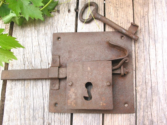 Antique Door Lock with Original Key-French Hand Forged Iron-Skeleton Key-Antique  Latch-Chateau Door Lock-Rustical 18th Century Lock from vintagedtimes on ... - Antique Door Lock With Original Key-French Hand Forged Iron-Skeleton