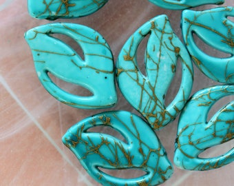 set of 10 turquoise leaf beads