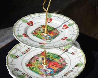 SOLD ....Two Tier sandwich or cake stand with four matching side plates  / Alice in Wonderland / Tea Party / Queen of Hearts / Handmade