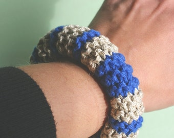 Knitted cotton bracelet in blue and sand modern nautical style - last one!