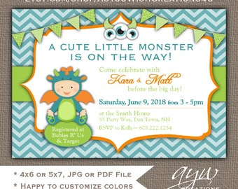 Monster Baby Shower Invitation Boy Invitation Monster Shower Invitations Printable Baby Shower Invites Monster Baby Sprinkle Teal Orange
