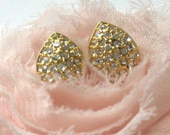 1960s Gold Teardrops w/ Clear Rhinestones - Pierced Ears - Vintage Earrings