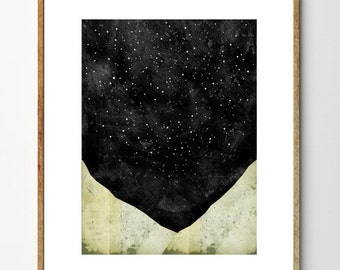 Mountain Wall Art, Space Print, Abstract Watercolor, Collage Art, Stars, Nature Art Print, Surreal Art, Landscape Painting // Stargazing