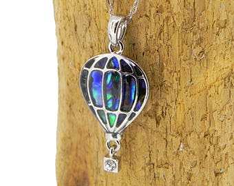 Hot Air Balloon Necklace Abalone Necklace Abalone Shell Pendant Gift for Her Hypoallergenic Jewellery Abalone Jewelry Paua Shell Necklace