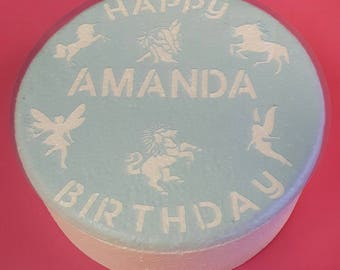 Personalized girls birthday cake stencil with fairies, unicorns Pick name of your choice personalised.