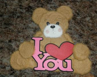 Tear bear, paper piecing, scrapbooking, hand torn, handmade, tan , mulberry paper, card topper, embellishment, tearbear, love