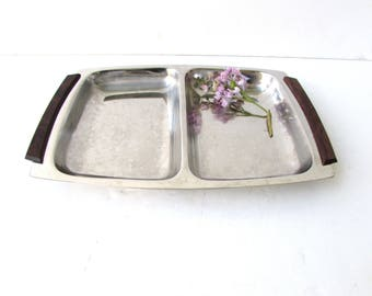 Mid Century Modern Divided Serving Tray - Stainless and Wood - Teak - Vintage - Danish Modern Divided Tray - Stainless Steel - Modern Tray