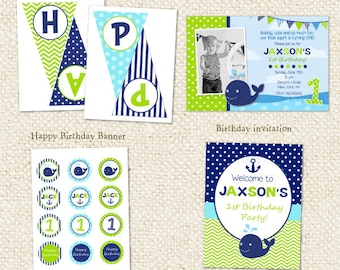 Whale - DIY Printable Personalized Birthday Party Package Party Pack - Nautical