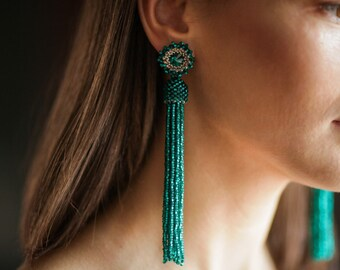 Matt Emerald Green tassel earrings Statement earrings Beaded fringe earrings Long tassel earrings Beaded  swarovski earrings BOHO earrings