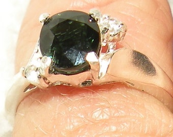 Tourmaline Ring with White Sapphire Accents
