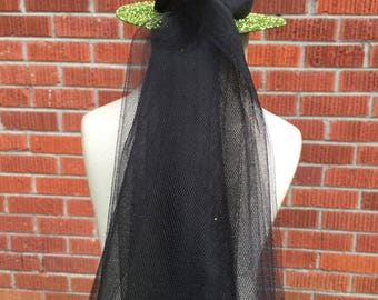 """Mini Witch Hat - Witch Hat Fascinator - Witch Hat Headband - Sparkle Witch Hat - Witch Costume - Witch Hat Costume - Green- Witch Hat 6"""""""