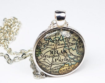 Milan Map Necklace- Vintage Map Pendant Jewelry from an Antique 1929 Atlas, Italy Map Necklace, Map Jewelry, Milan Pendant, Milan Necklace