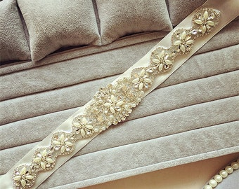 Bridal Rhinestone Sash Belt  Wedding Crystal Belt Beaded Sash Belt Wedding Accessories