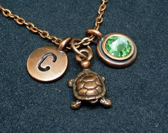 Copper Turtle necklace, swarovski birthstone, initial necklace, birthstone necklace, initial charm