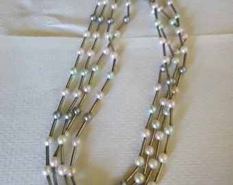Multi Strand Liquid Silver With Faux Pearls Necklace