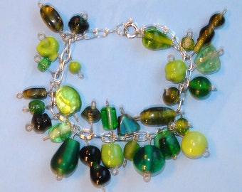 LAST ONE! Spring Fever - Green Glass Beaded Wire Wrapped Bracelet