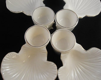 Seafood Serving Set of Four White China MG Japan