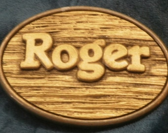 ROGER BELT BUCKLE by Oden Made in the United States measuring 1 87 inches tall and 2 87 wide & I always combine purchases to save you money