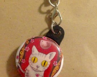 Grey Cat Art Cell Phone Fob Dangle Lanyard
